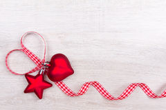 Star heart ribbon checkered red Royalty Free Stock Photo