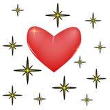 Star heart. Serce shining among the stars Stock Photo
