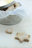 Star and heart shaped homemade ginger cookies Royalty Free Stock Photo