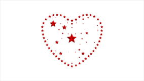 Star heart Valentine Day video animation stock footage