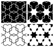 Star & Hexagon Patterns. Intricate geometric tile patterns in black and white. Can be used as is or seamlessly tiled for a background royalty free illustration