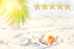 5 star holidays deal , beach and seascape, shall. Space for text. Customer Experience Concept, Best Excellent Services Rating for stock photo