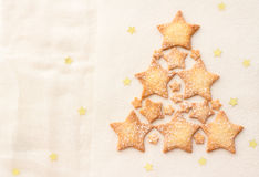 Star homemade cookies in a shape of christmas tree  Stock Image