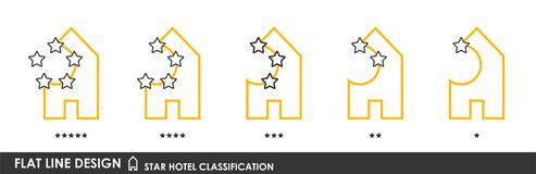 Star hotel classification 3. Flat linear design. Classification symbols of hotels by the number of stars. A collection of modern iconography of the logo. Vector stock illustration