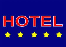 Illustration sign logo five star hotel on blue background. The 5 star hotel is a sign of luxury, better service and for guests of full-length hotels who can vector illustration
