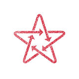 Star icon with arrows with hand drawn lines texture. Royalty Free Stock Photography