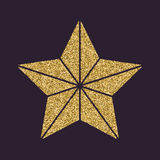 The star icon. Best and favorite, quality symbol. Gold sparkles and glitter Stock Image