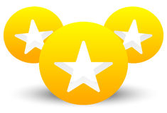 Star icon with composition of 3 circles with stars cut in them Stock Photography
