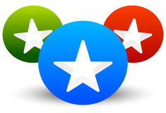 Star icon with composition of 3 circles with stars cut in them Stock Photo