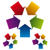 Star icon created with five arrows. Stock Image