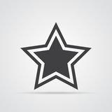 Star icon in flat design. Gray star icon on white background. Vector illustration Stock Photos