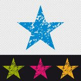 Star Icon - Rubber Stamp Seal - Colorful Vector Illustration - Isolated On Transparent And Black Background royalty free illustration
