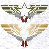 The star icon with wings and revolvers Stock Photo