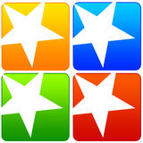 Star icons. Colorful icons with stars, copyspace provided inside the icons (resolution of image is high enough for the icons to be used separately Royalty Free Stock Photo