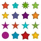Star icons doodle set Stock Photos