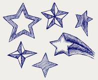 Star icons. Doodle style Royalty Free Stock Images