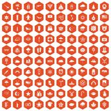 100 star icons hexagon orange Royalty Free Stock Photography