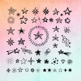 Star icons and pictogram. Collection black star shapes. On gradient abstract background royalty free illustration