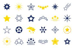 Star icons. Premium black and outline symbols of star shapes, four five six-pointed star labels on white background royalty free illustration