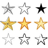Star icons set. Orange star icons vector set royalty free illustration
