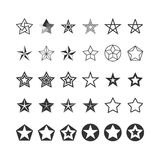 Star Icons Set. Black And White. Vector Royalty Free Stock Photos