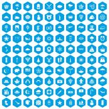 100 star icons set blue. 100 star icons set in blue hexagon isolated vector illustration stock illustration
