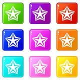 Star icons 9 set. Star icons of 9 color set isolated vector illustration Stock Photography