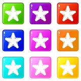 Star icons 9 set. Star icons of 9 color set isolated vector illustration Stock Photos