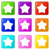 Star icons 9 set. Star icons of 9 color set  vector illustration Stock Photos
