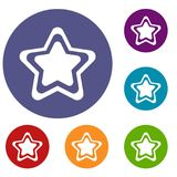 Star icons set. In flat circle reb, blue and green color for web Stock Photo