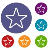 Star icons set. In flat circle reb, blue and green color for web Royalty Free Stock Image