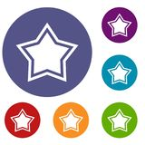 Star icons set. In flat circle reb, blue and green color for web Stock Images