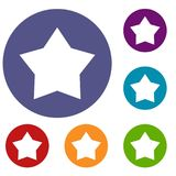 Star icons set. In flat circle reb, blue and green color for web Stock Photography
