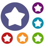 Star icons set. In flat circle reb, blue and green color for web Royalty Free Stock Images