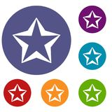 Star icons set. In flat circle reb, blue and green color for web Royalty Free Stock Photo