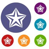 Star icons set. In flat circle reb, blue and green color for web Stock Photos