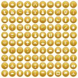 100 star icons set gold. 100 star icons set in gold circle isolated on white vectr illustration Royalty Free Stock Photo