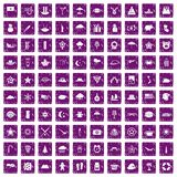 100 star icons set grunge purple. 100 star icons set in grunge style purple color isolated on white background vector illustration Royalty Free Stock Photos