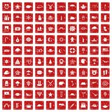 100 star icons set grunge red Royalty Free Stock Image
