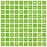 100 star icons set grunge green Royalty Free Stock Photos