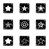 Star icons set, grunge style Royalty Free Stock Photos