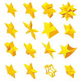 Star icons set, isometric 3d style. Star icons set in isometric 3d style. Yellow stars set collection vector illustration Royalty Free Stock Photos