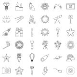 Star icons set, outline style. Star icons set. Outline style of 36 star vector icons for web isolated on white background Stock Images