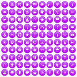 100 star icons set purple. 100 star icons set in purple circle isolated vector illustration Stock Photos