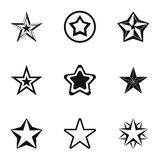 Star icons set, simple style. Star icons set. Simple illustration of 9 star vector icons for web Royalty Free Stock Image