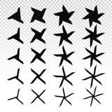Star icons set. Pointed beveled stars, asterisks ninja. Vector sparkles black symbols. Popular checker chess square abstract background. Seamless black and stock illustration
