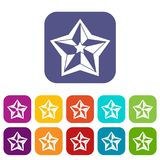 Star icons set. Vector illustration in flat style In colors red, blue, green and other Stock Photo