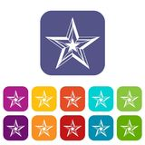 Star icons set. Vector illustration in flat style In colors red, blue, green and other Stock Photos