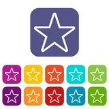 Star icons set. Vector illustration in flat style In colors red, blue, green and other Stock Photography