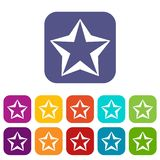 Star icons set. Vector illustration in flat style In colors red, blue, green and other Royalty Free Stock Photography